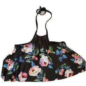 Gianni Bini Halter Swimsuit Top Flowy Floral Black